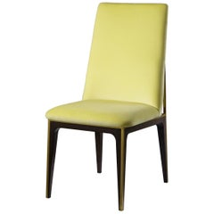 Accent Dining Chair with Yellow Fabric
