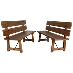 20th Pair of Spanish Park or Garden Benches  with Wood Slabs & Iron Stretchers