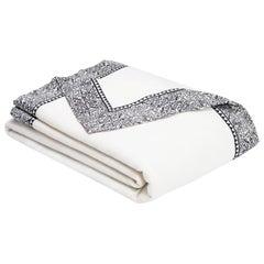 Emilie Merino White King-Size Blanket with Grey Print Border by JG SWITZER