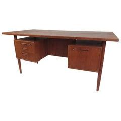 Danish Modern Twin Pedestal Writing Desk by H.P. Hansen