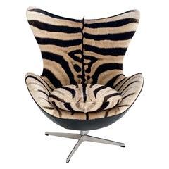 Arne Jacobsen for Fritz Hansen Egg Chair in Zebra Hide and Loro Piana Leather