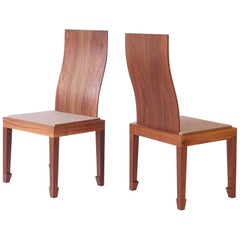 Solid Back Walnut Chinese Dining Chair with Felt Cushion