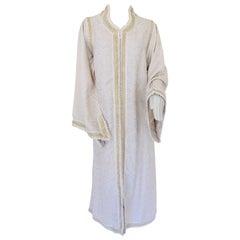 Moroccan White Kaftan Maxi Dress Caftan Size Large