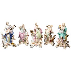 Set of 5 Meissen Figures Emblematic of the Senses by J.J. Kändler and Eberlein