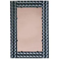 Patterned Worked Iron Geometric Mirror, 1970s