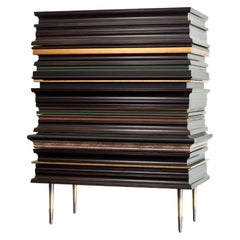Contemporary Darkened Wood with Gold and Green Moldings Dresser by Luis Pons