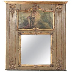 Louis XVI Paint and Giltwood Trumeau with Oil Inset of King