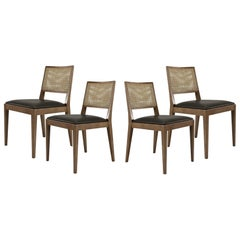 Mid-Century Modern Rattan Dining Chair, Set of Six