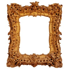 Unique Louis XV Period French Rococo Extraordinary Carved Giltwood Frame/Mirror