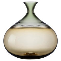 Modernist Hand Blown Glass Art Vessel in Straw and Sage by Vetro Vero