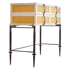 Contemporary Lacquer Wood with Panels of Woven Straw Dresser by Luis Pons