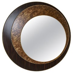 Mirror with Frame of Polished Solid Wood, Bronze Finish, Decorative Insert
