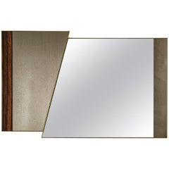 Mirror with Rame in Polished Solid Wood Silver Finish, Decorative Insert