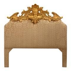 Italian Early 19th Century Louis XV st. Upholstered and Giltwood Headboard
