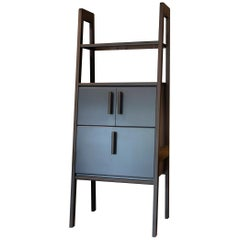 Collector Cabinet in Blackened Ashwood with Blue Lacquered Storage Cabinet