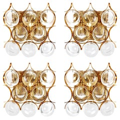 Palwa Sconces Wall Lamps, Gilt Brass Crystal Glass, 1970s, 1 of 4