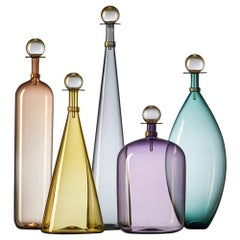 Group of 5 Modernist Hand Blown Glass Bottle Vases in Smoky Colors by Vetro Vero