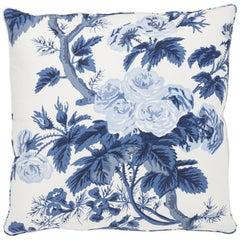 Schumacher Pyne Hollyhock Floral Chintz Indigo Two-Sided Cotton Pillow