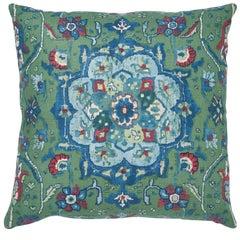 Schumacher Jahanara Carpet Jade Two-Sided Linen Pillow