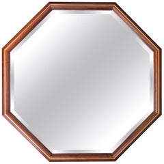 Walnut and Brass Inlay Octagon Framed Mirror