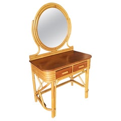 Post War Rattan and Mahogany Vanity with Round Mirror