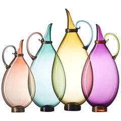 Set of Four Hand Blown Glass Amphora Decanters by Vetro Vero, Select Jewel Tones