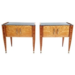 Pair of Italian Midcentury Nightstands in Bookmatched Wood