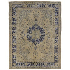 Antique Turkish Oushak Rug with European Chic Chinoiserie Style
