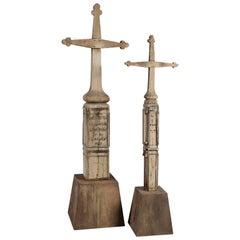 Two Huge 1890s Old Wood Cemetery Crosses