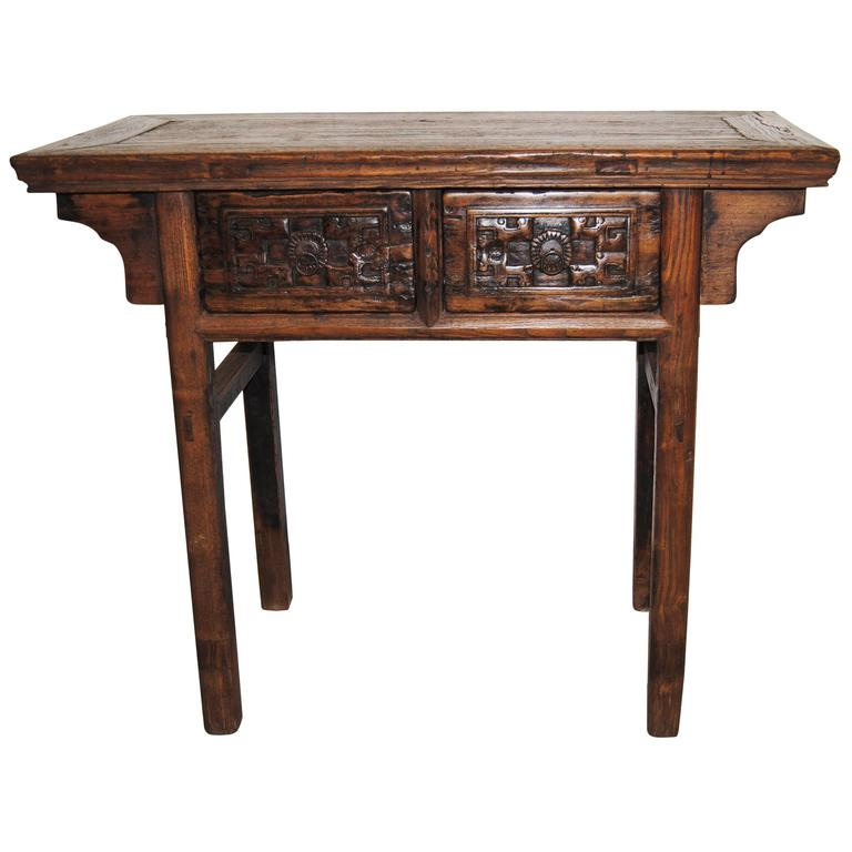Antique Chinese Elmwood Table With Hand Carved Drawers Mid Th