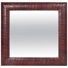 Hand-Woven Leather Framed Beveled Mirror