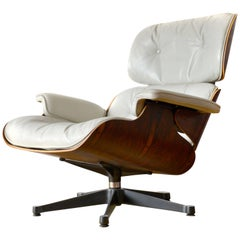 White Leather Lounge Chair, Charles Eames