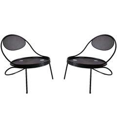 Pair French Mid-Century Modern Iron 'Copacabana' Chairs, by Mathieu Matégot 1955