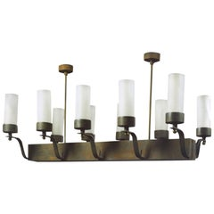 Rectangular Ten-Light Chandelier, France, Late 1930s
