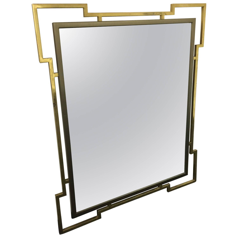 Karl Springer–style wall mirror, ca. 1970
