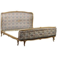 1940s Louis XV Style Carved and Upholstered Bed