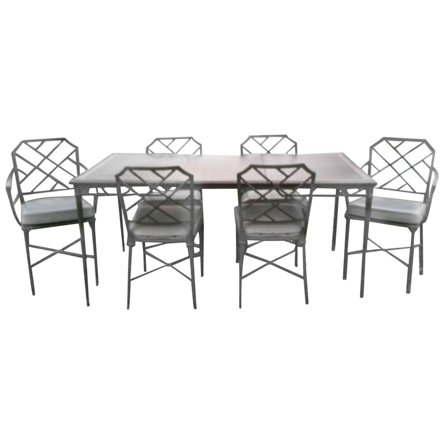 Brown Jordan Seven Piece Calcutta Faux Bamboo Patio Set Of Dining Table Chairs