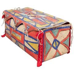 Antique Native American Painted Parfleche Box, Plateau, 19th Century