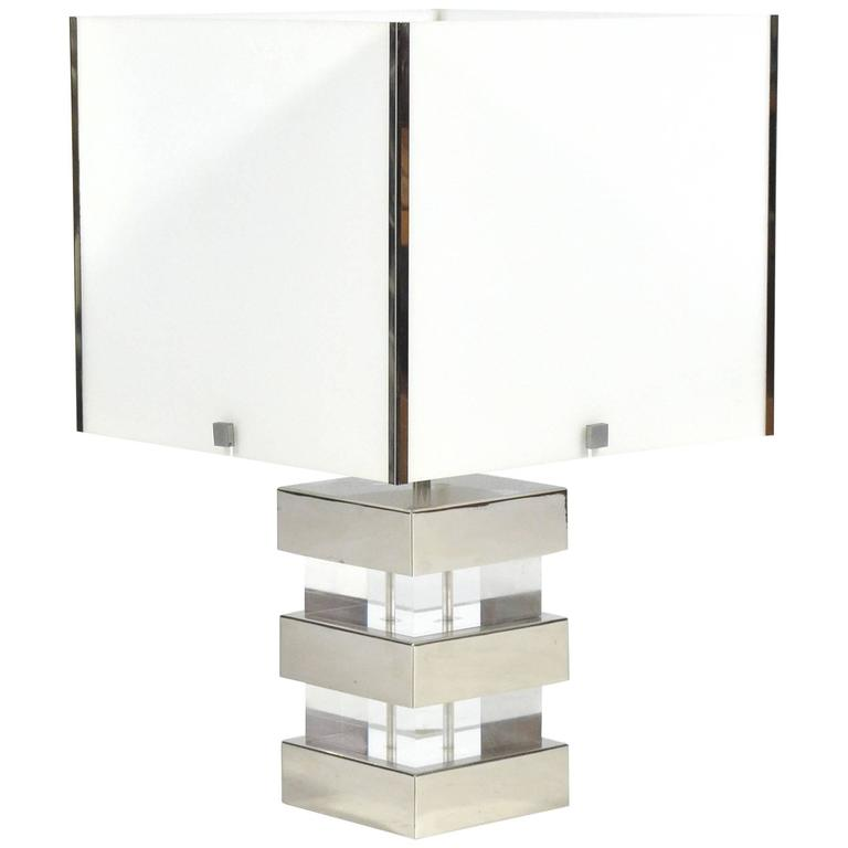 Lucite and chrome table lamp, 1970s