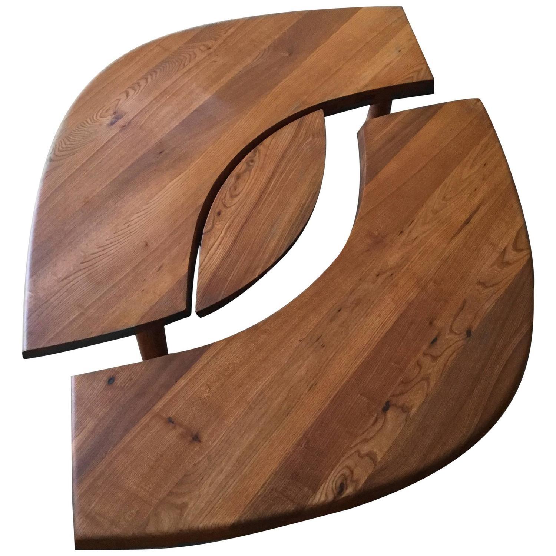 Pierre Chapo Model T 22C L'Oeil elm coffee table, 1968
