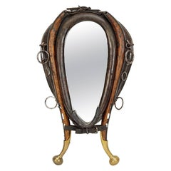 Handsome 19th Century Leather, Wood and Brass Horse Collar Mounted as Mirror