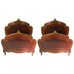 Pair of 19th Century Mahogany Twin Beds in the Manner of Francois Linke