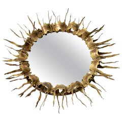 Pair of  Sunburst Brass Mirror Mid-Century, 1970s, USA