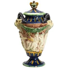 Antique Lidded Majolica Grotesque Horned Head Vase, 19th Century