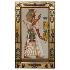 Northern European Egyptian Revival Porcelain Plaque in Matching Period Frame