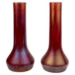 Pair of Art Nouveau Czech Loetz Type Red Art Glass Vases by Rindskopf