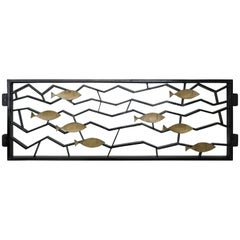 Pair of Metal Geometric Fence or Art Object with Golden Fish