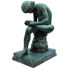 Large Grand Tour Verdigris Bronze Sculpture of Spinario by Benedetto Boschetti