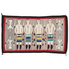 Vintage Navajo Yei Rug, Oriental Rug, Handmade Wool Rug, Gray Color