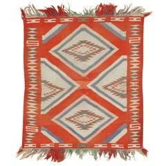 Antique Navajo Germantown Child Blanket, Oriental Handmade Wool Rug